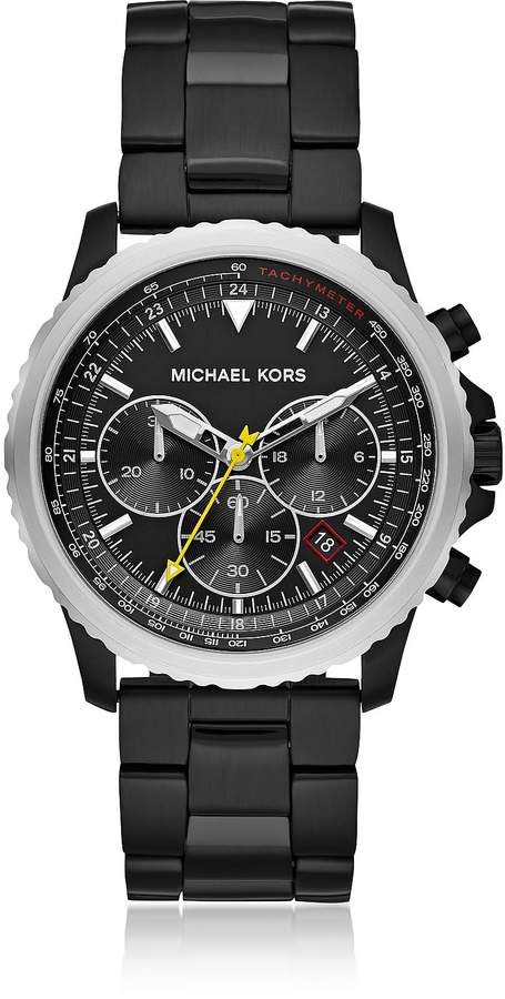 Michael Kors Theroux Black Plated Chronograph Watch