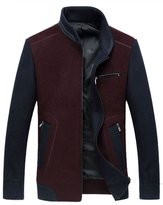 Oncefirst Men's Colorblock Full Zip Wool Coat Jacket 3XL Wine