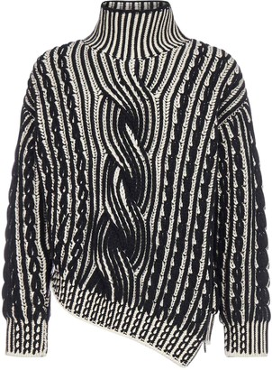 Alexander McQueen Asymmetric Cable-knit Wool And Cashmere Turtleneck