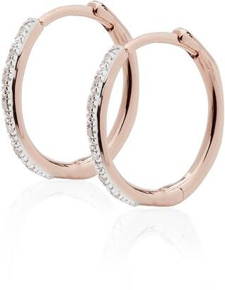 Monica Vinader Medium Riva Wave Diamond Hoop Earrings