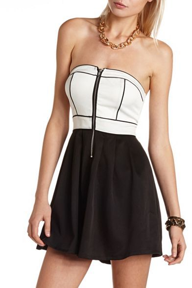 Charlotte Russe Zip-Front Color Block Tube Dress
