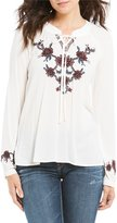 Blu Pepper Embroidered Long Sleeve Peasant Top