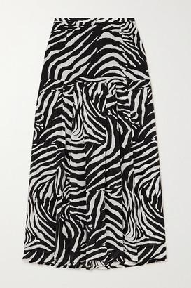 Rixo Nancy Pleated Zebra-print Silk Crepe De Chine Midi Skirt - Zebra print