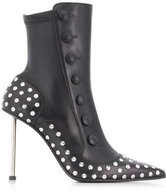 Alexander McQueen buttoned embellished leather boots