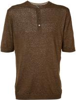 Eleventy buttoned neck T-shirt - men - Linen/Flax - S