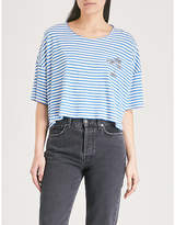 The Kooples Palm-tree embroidered striped jersey T-shirt