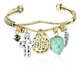 Bliss 18k Gold Dangling Faith Cross Turquoise Feather Charms Open Cuff Bangle.