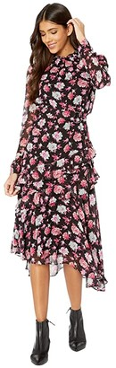 Jason Wu Printed Long Sleeve Asymmetrical Dress (Black Multi) Women's Clothing