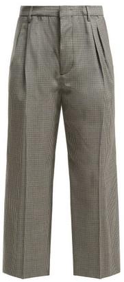 Miu Miu Cropped Checked Wool Trousers - Womens - Blue Multi