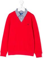 Fay Kids attached shirt logo sweatshirt