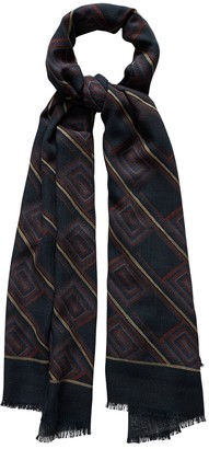 Eton Blue Geometric Fine Wool Scarf