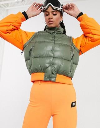 Asos 4505 4505 ski bomber jacket with detachable sleeves-Orange