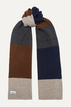 Ganni Color-block Wool-blend Scarf - Brown