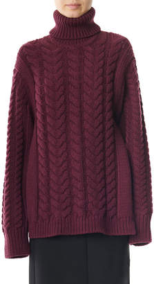 Tibi Open-Back Cable Turtleneck Sweater
