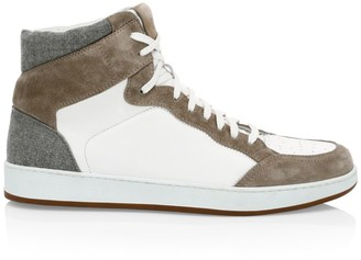 Eleventy Mix Media Leather & Wool High-Top Sneakers