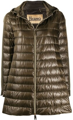 Herno hooded A-line down coat