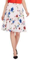Ellen Tracy Trompe L'Oeil Garden Sunburst Pleat Skirt