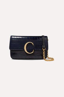 Chloé C Leather-trimmed Croc-effect Shoulder Bag - Navy