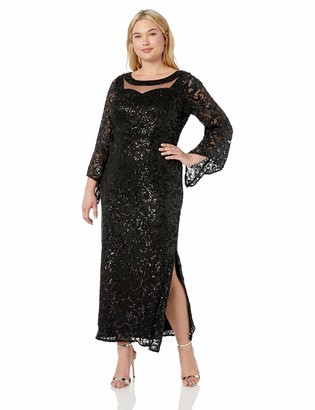 Brianna Women's Plus Size All Over Sequin Gown with Bell Sleeve