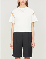 The Kooples Safety pin-trim cotton-jersey T-shirt
