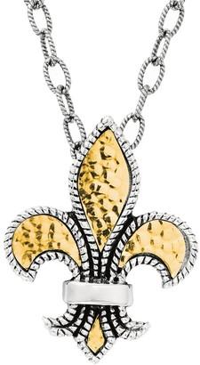 Phillip Gavriel 18K & Silver Fleur De Lis Pendant Necklace