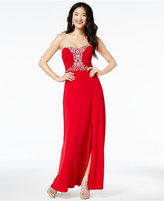 Amy Byer Juniors' Strapless Beaded Gown, A Macy's Exclusive Style
