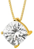 Charles & Colvard Forever Brilliant 3.30 CT. T.W. Forever Brilliant® Cushion Moissanite Solitaire Prong Set Pendant in 14K Yellow Gold