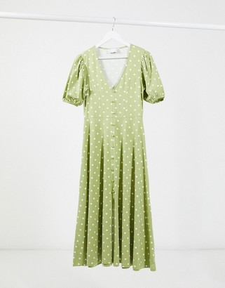 ASOS DESIGN midi dress with button through detail in sage green and white spot