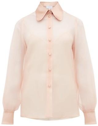 Luisa Beccaria Satin-collar Silk-organza Blouse - Womens - Light Pink