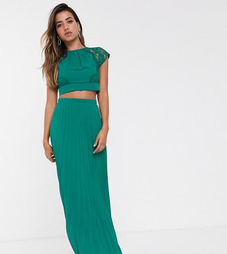 TFNC pleated maxi skirt in emerald green