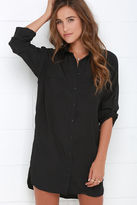 Honey Punch City Strut Black Shirt Dress