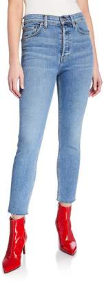 RE/DONE High-Rise Ankle Crop Skinny Jeans w/ Raw Hem