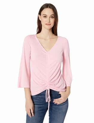 ECI New York Women's V-Neck Front Rouched TOP