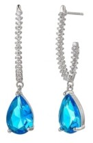 A&M A & M Silver-Tone Aqua Tear Drop Earrings