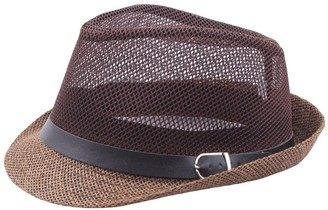 Maheegu Summer Mesh Straw Jazz Hat Short Brim Beach Sunhat Packable Panama Cap (Coffee)