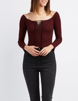 Charlotte Russe Striped Off-The-Shoulder Lace-Up Bodysuit
