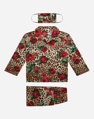 Dolce & Gabbana Pajama Set With Matching Face Mask With Red Rose And Leopard Print