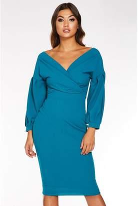 Quiz Teal Bardot Wrap Long Sleeve Midi Dress