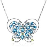 Kenneth Jay Lane Fine Jewelry Sterling Silver, Blue and White Topaz, and Peridot Butterfly Pendant Necklace