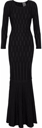 Herve Leger Fluted Ribbed-knit Gown