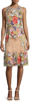 Sleeveless Floral-Applique Cocktail Dress, Illusion