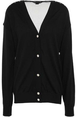 Alexander Wang Studded Open Knit-paneled Merino Wool Cardigan
