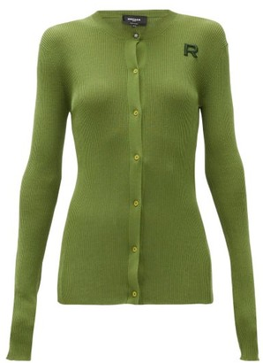 Rochas Logo-applique Ribbed Cotton Cardigan - Womens - Green