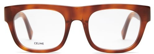 Celine Rectangle Frame Tortoiseshell Acetate Glasses - Womens - Tortoiseshell