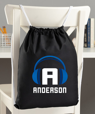 Personalized Planet Backpacks Black - Black & Blue Headphone Personalized Drawstring Bag
