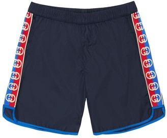 Gucci Nylon Swim Shorts W/ Logo Bands
