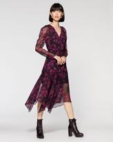 Vince Camuto Floral-print Puff-shoulder Dress