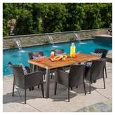 Christopher Knight Home Denaya 7pc Rectangle All-Weather Wicker & Wood Patio Dining Set - Brown/Natural