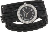 XOXO Women's XO5616 Rubber Double Wrap Rhinestones Bezel Watch