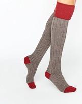 Johnstons of Elgin Red Cashmere Color Block Knee High Socks